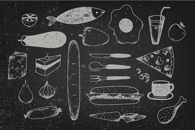 Set hand getrokken doodle voedsel op schoolbord. zwart-wit grafische illustratie