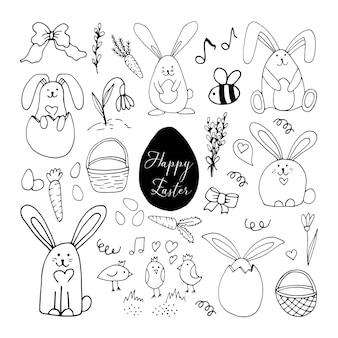 Set hand getrokken elementen. wortelen, konijn met eieren, vogels, bloemen, bij voor pasen-ontwerp, wenskaarten, posters, seizoensontwerp. geïsoleerd op een witte achtergrond. doodle vectorillustratie.