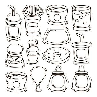 Set hand getrokken fastfood element cartoon doodle ontwerp kleuren
