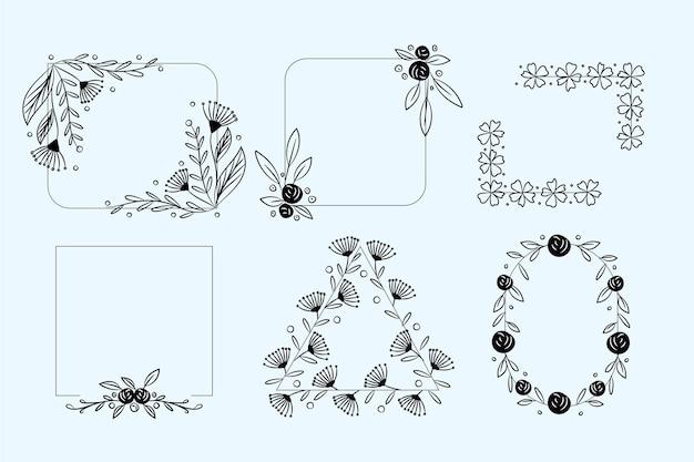 Set hand getrokken floral frames