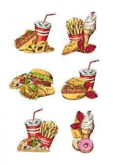 Set hand getrokken gekleurde fastfood-elementen. van fastfood hamburger schets tekening, fast-food restaurant menu
