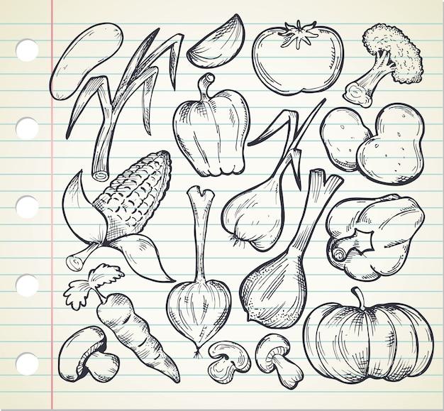 Set hand getrokken groenten