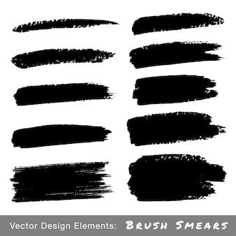 Set hand getrokken grunge brush uitstrijkjes