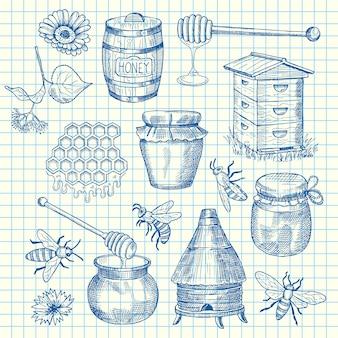Set hand getrokken honing elementen op cel blad illustratie. honing eten schets, bijen en bloemen