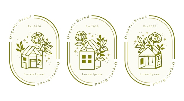Set hand getrokken huis en groene bloemen logo-elementen voor beauty merk