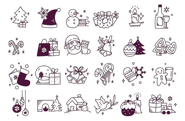 Set hand getrokken kerst doodle