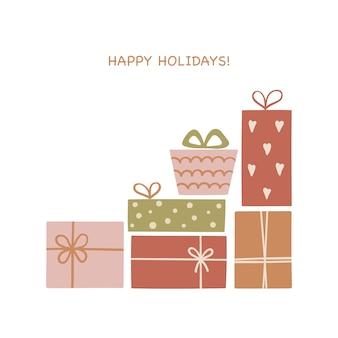 Set hand getrokken kerst geschenkdozen.