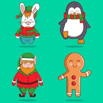 Set hand getrokken kerst karakters Gratis Vector