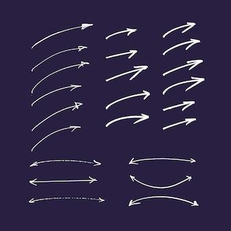Set hand getrokken kleurrijke pijlen en lijnen. markeerstift elementen