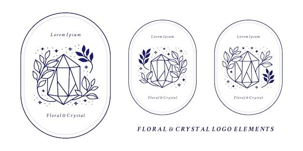 Set hand getrokken magisch kristallogo-element met botanisch blad en sterren