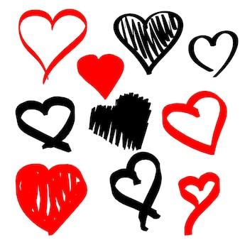Set hand getrokken marker rood en zwart hart op witte achtergrond. vectorillustratie voor uw grafisch ontwerp