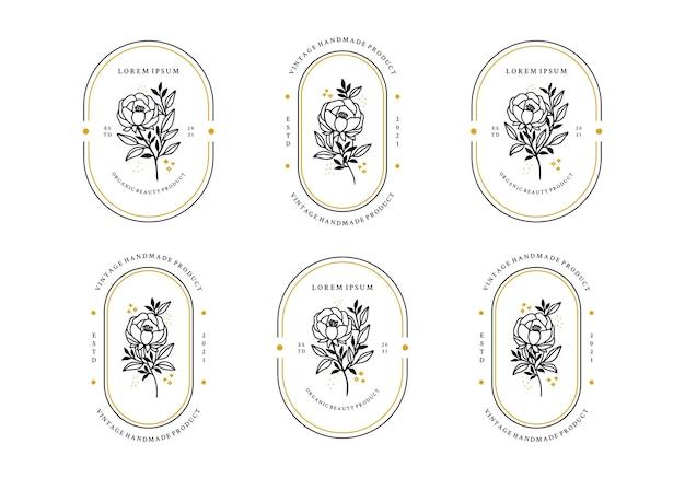 Set hand getrokken minimalistische roze bloem, pioenroos en blad logo-elementen