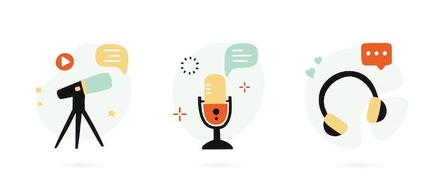 Set hand getrokken pictogrammen voor podcasting.