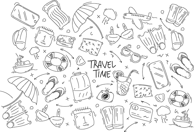 Set hand getrokken reizen doodle. illustratie. toerisme en zomerschets met reizend elementenkompas, bikini, zonnebril, camera, cocktail, kaartje.