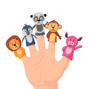 Set hand getrokken schattige vingerpoppen