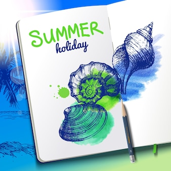 Set hand getrokken schets en aquarel schelpen. schetsboekpapier op de achtergrond van het vakantiestrand. vector illustratie