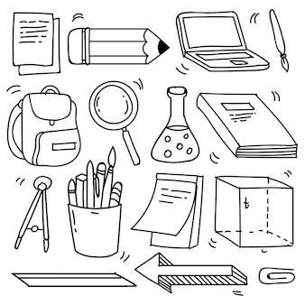 Set hand getrokken school clipart. vector doodle school pictogrammen en symbolen in doodle stijl, vectorillustratie