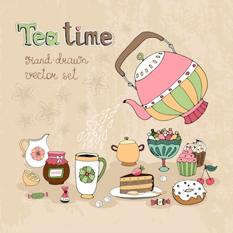 Set hand getrokken teatime ontwerpelementen met een theepot hete thee gieten over een kruik