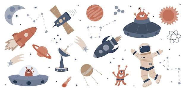 Set hand getrokken ve van ruimte verzameling van cliparts van ufo's monsters planeten astronaut