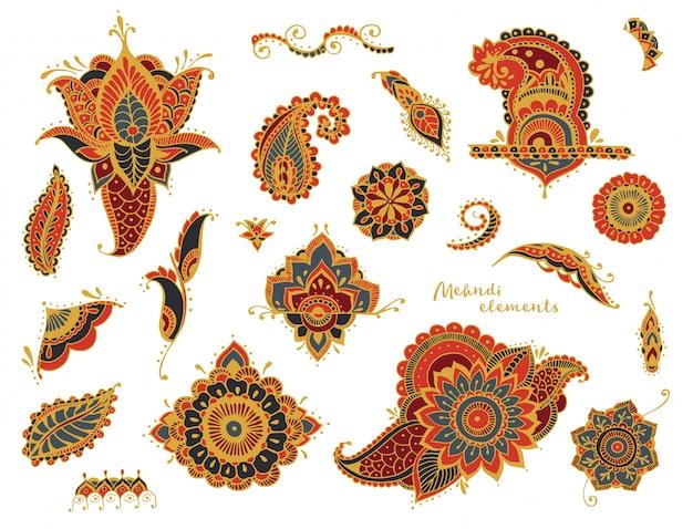 Set hand getrokken verschillende mehndi-elementen. gestileerde bloemen, bladeren, indiase paisley collectie. zwart-wit etnische illustratie.