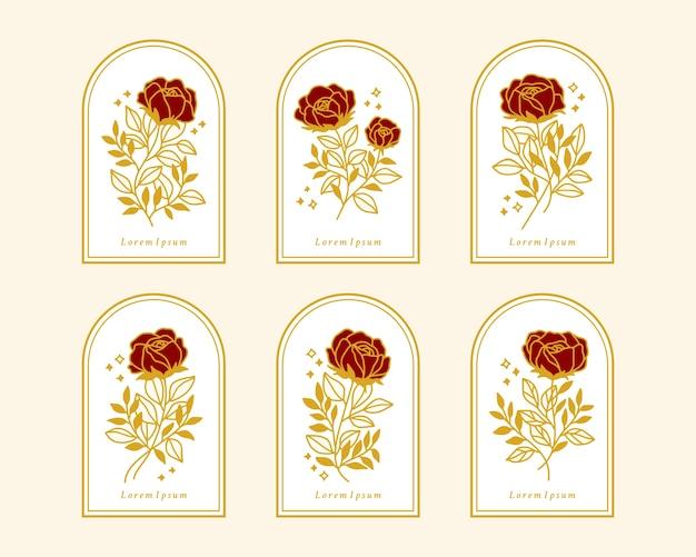 Set hand getrokken vintage gouden botanische roze bloemelementen voor vrouwelijk logo of schoonheidsmerk