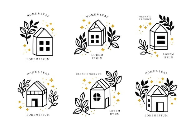 Set hand getrokken vintage huis en botanische blad tak floral logo-elementen
