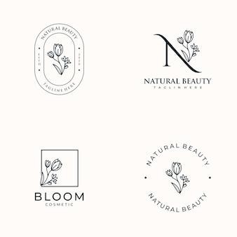 Set hand getrokken vrouwelijk, logo voor spa salon, huid haar schoonheidssalon en cosmetica,