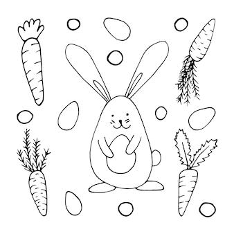 Set hand getrokken wortelen en konijn met eieren voor pasen-ontwerp, wenskaarten, posters, recept, culinair ontwerp. geïsoleerd op een witte achtergrond. doodle vectorillustratie.