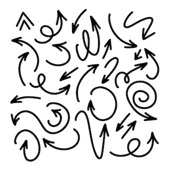 Set hand getrokken zwarte doodle pijlen. illustratie. geïsoleerd op een witte achtergrond