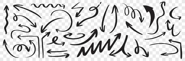 Set hand getrokken zwarte pijlen. doodle gebogen verspreide krabbel schets aanwijzer lijn richting pijlpunt