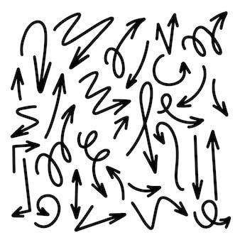 Set hand getrokken zwarte pijlen. illustratie. geïsoleerd op een witte achtergrond