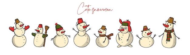 Set hand rawn sneeuwmannen