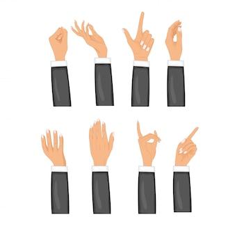 Set handen in verschillende gebaren geïsoleerd. gekleurde handgebaar set. collectie emoties, tekens.