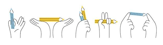 Set handen met potloden in een lineaire stijl. moderne illustratie. geïsoleerde symbolen op witte achtergrond.