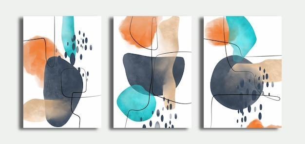 Set handgeschilderde abstracte kunst aan de muur