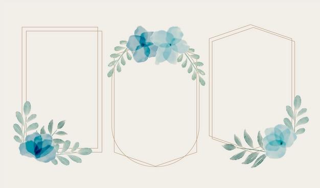 Set handgeschilderde aquarel bloemen frames