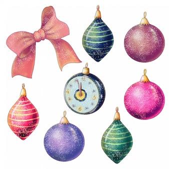Set handgeschilderde kerstboom speelgoed
