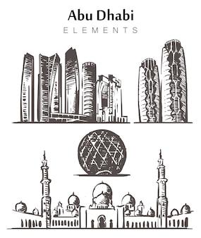 Set handgetekende abu dhabi gebouwen elementen schets.