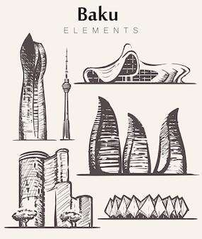 Set handgetekende baku-gebouwen. baku elementen schets.socar, flame, maiden, baku tv-torens, heydar aliyev center.