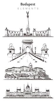 Set handgetekende budapest gebouwen, budapest elementen schets