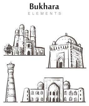 Set handgetekende bukhara-gebouwen