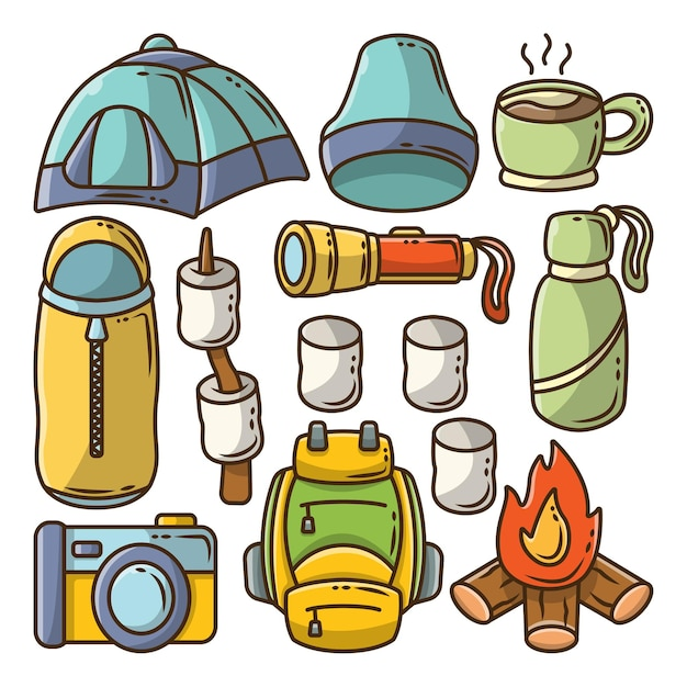 Set handgetekende camping cartoon doodle bundel