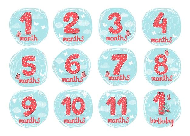 Set handgetekende cijfers voor de verjaardag van een kind van 1 maand tot 1 jaar