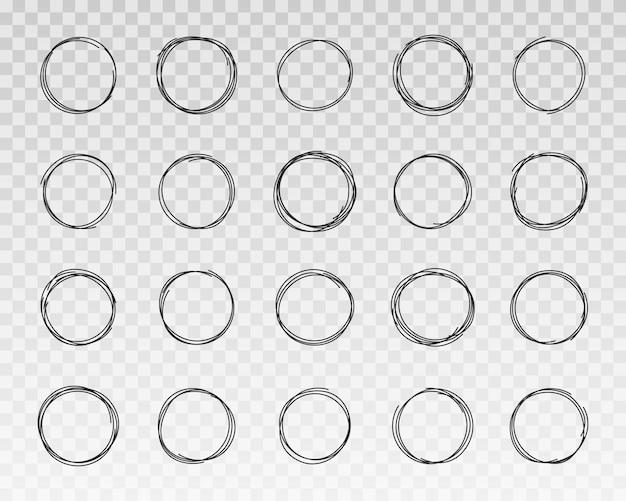 Set handgetekende cirkels krabbel cirkels frames