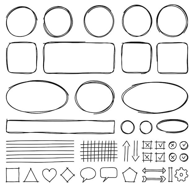Set handgetekende elementen voor het selecteren van tekst. ovale, ronde, rechthoekige en vierkante kaders, pijlen, lijnen, labels en objecten.