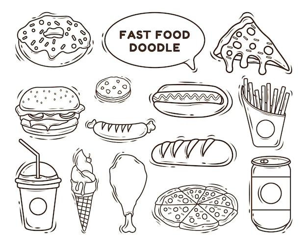 Set handgetekende fastfood cartoon doodle kleuren
