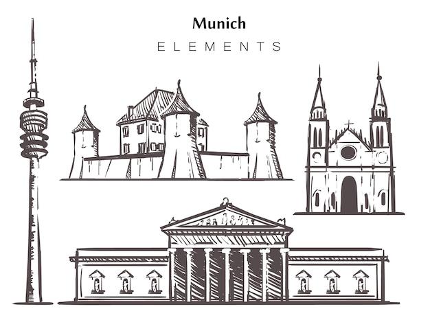 Set handgetekende gebouwen in münchen