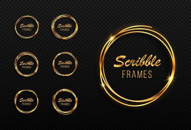 Set handgetekende gouden cirkels krabbel cirkels frames getekende cirkels schets