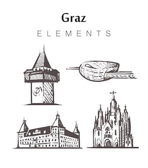 Set handgetekende graz-gebouwen