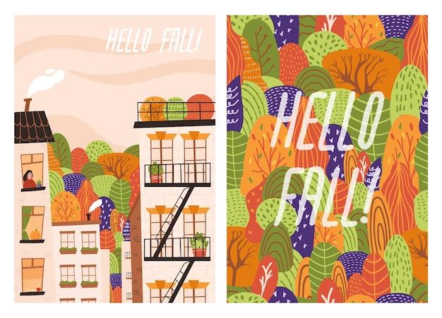 Set handgetekende herfstposter met stad en bomen